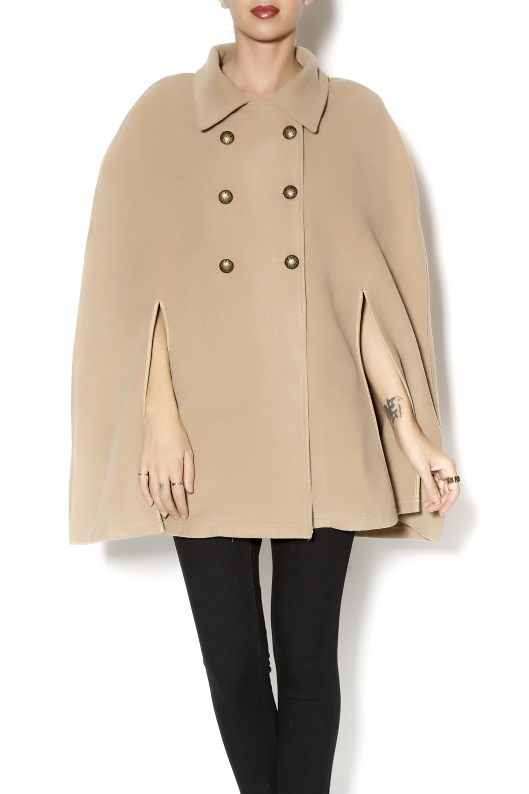 Charlie Paige Trench Coat Poncho - Front Cropped Image