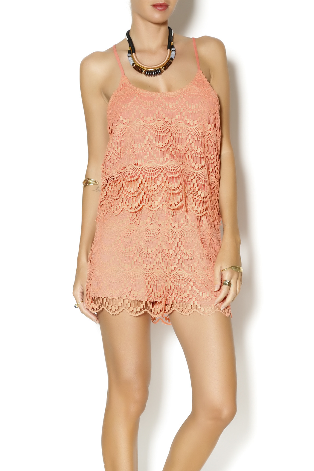 ca6c5dcfd9c4 Lulumari Tangerine Crochet Romper from New York by Dor L Dor ...