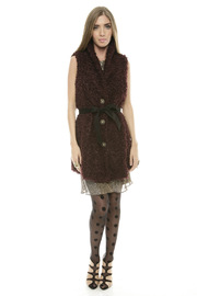 Baci Belted Curly Vest - Front full body