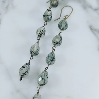 Shoptiques Product: Sterling Silver and Quartz 4 Drop Earrings