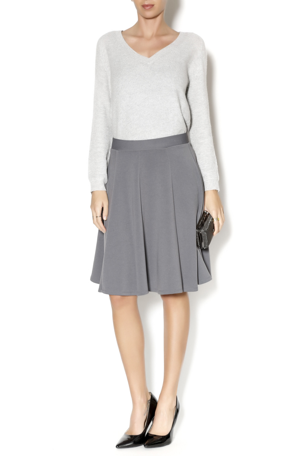 Timing Gray A-Line Skirt from Phoenix by Clothes Minded — Shoptiques