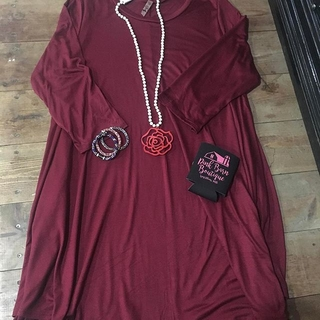 Shoptiques  Maroon Dress With Pocket