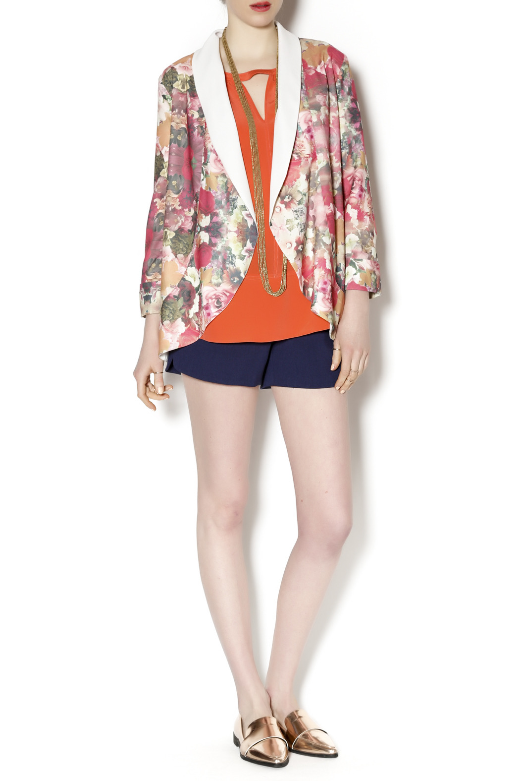 Gentle Fawn Floral Print Blazer - Front Full Image