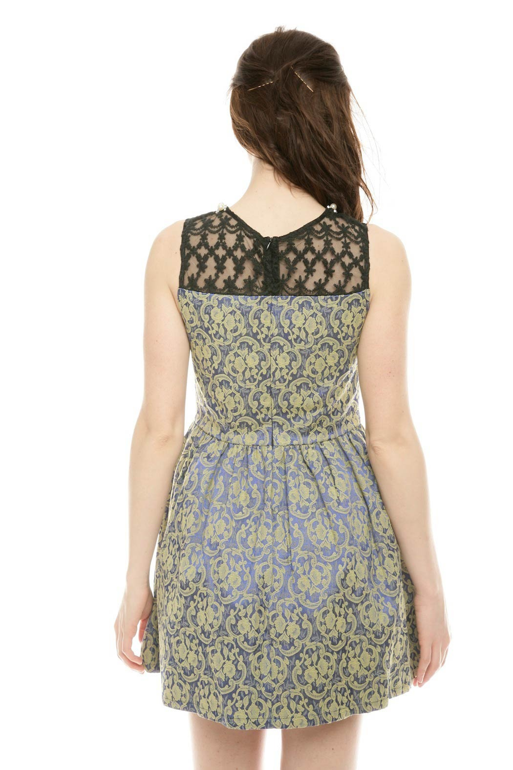 Gracia Pearl Floral Dress - Back Cropped Image