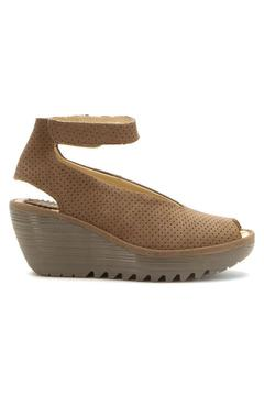 Fly London Khaki Perforated Wedge - Alternate List Image