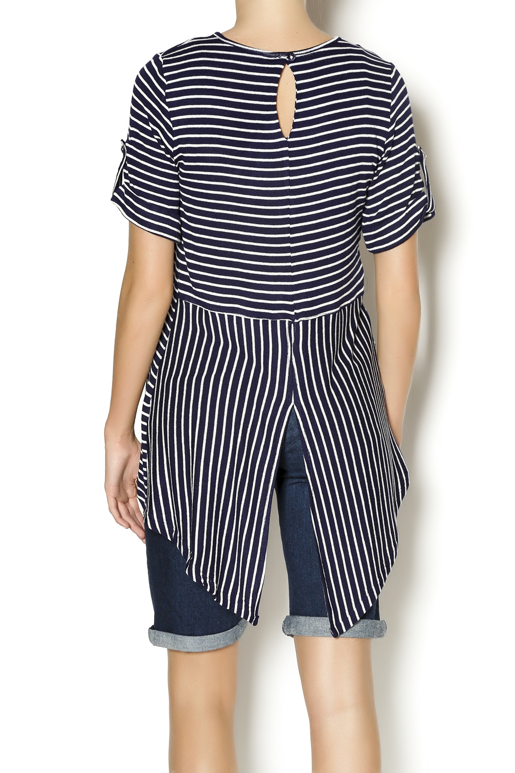 Mesmerize Striped High Low Top - Back Cropped Image