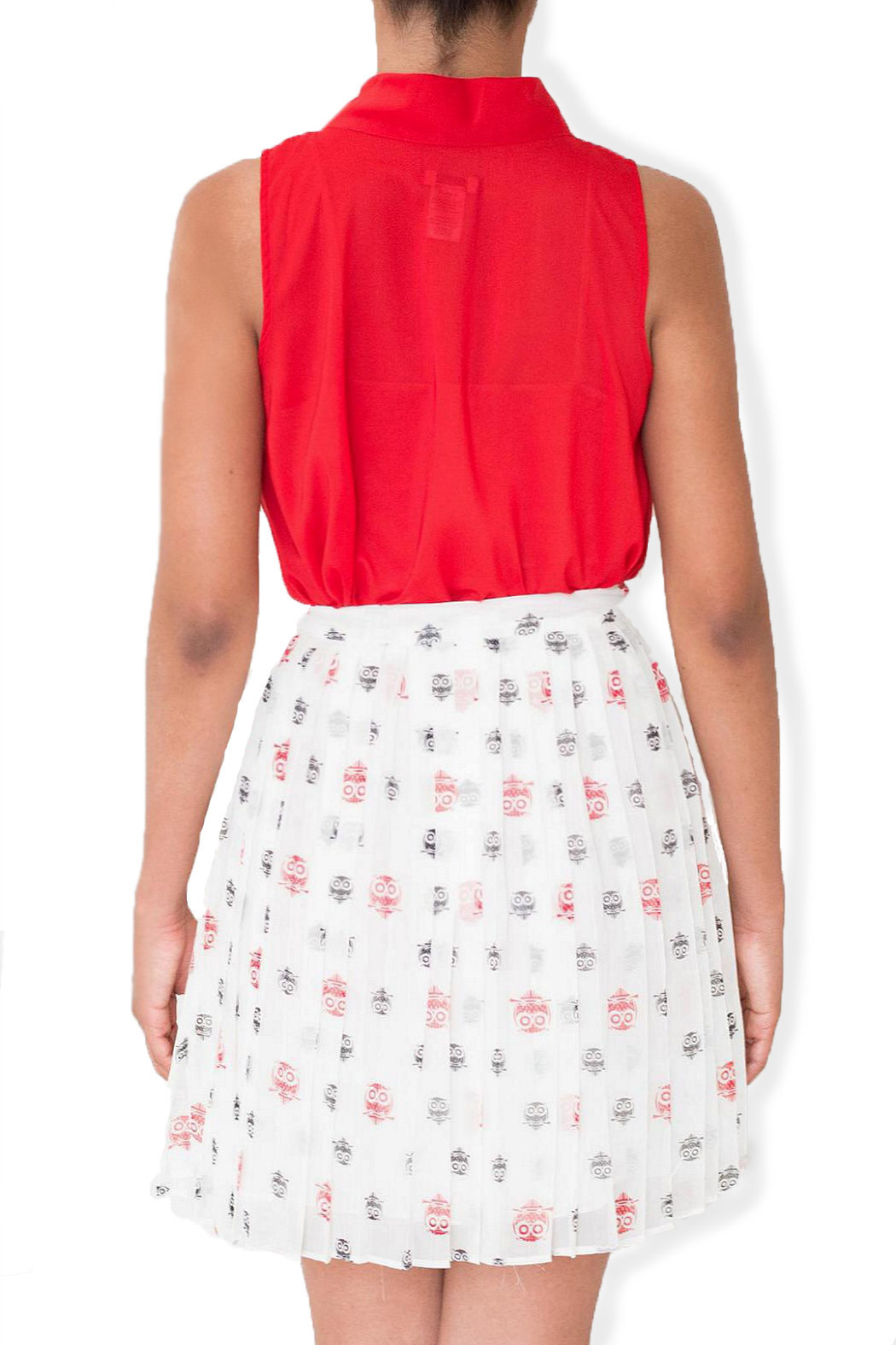 Esley Collection Owl Print Skirt - Back Cropped Image