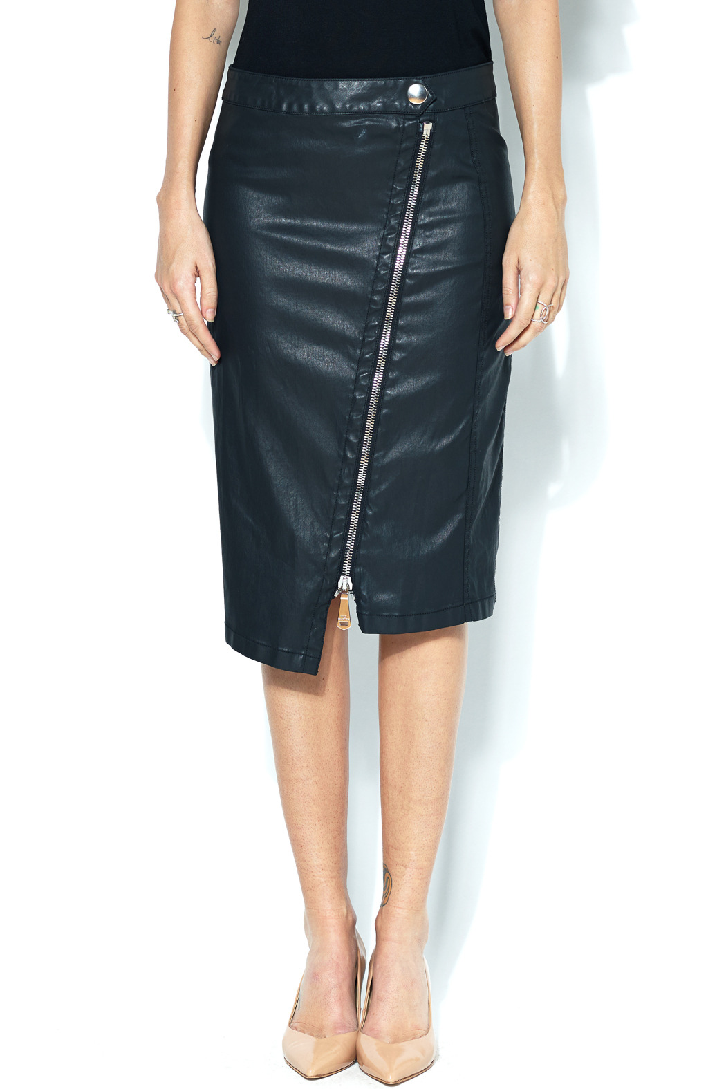 Cop-Copine Leather Zipper Pencil Skirt from SoHo by Foravi ...