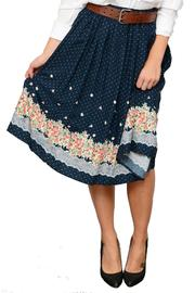 Comme Toi Floral Midi Skirt - Front full body