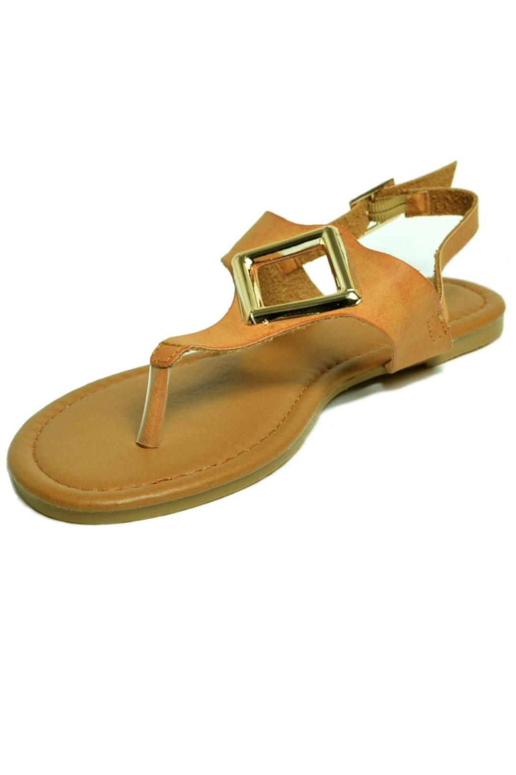 Qupid T-Strap, Metallic Ornament-Sandal - Front Full Image