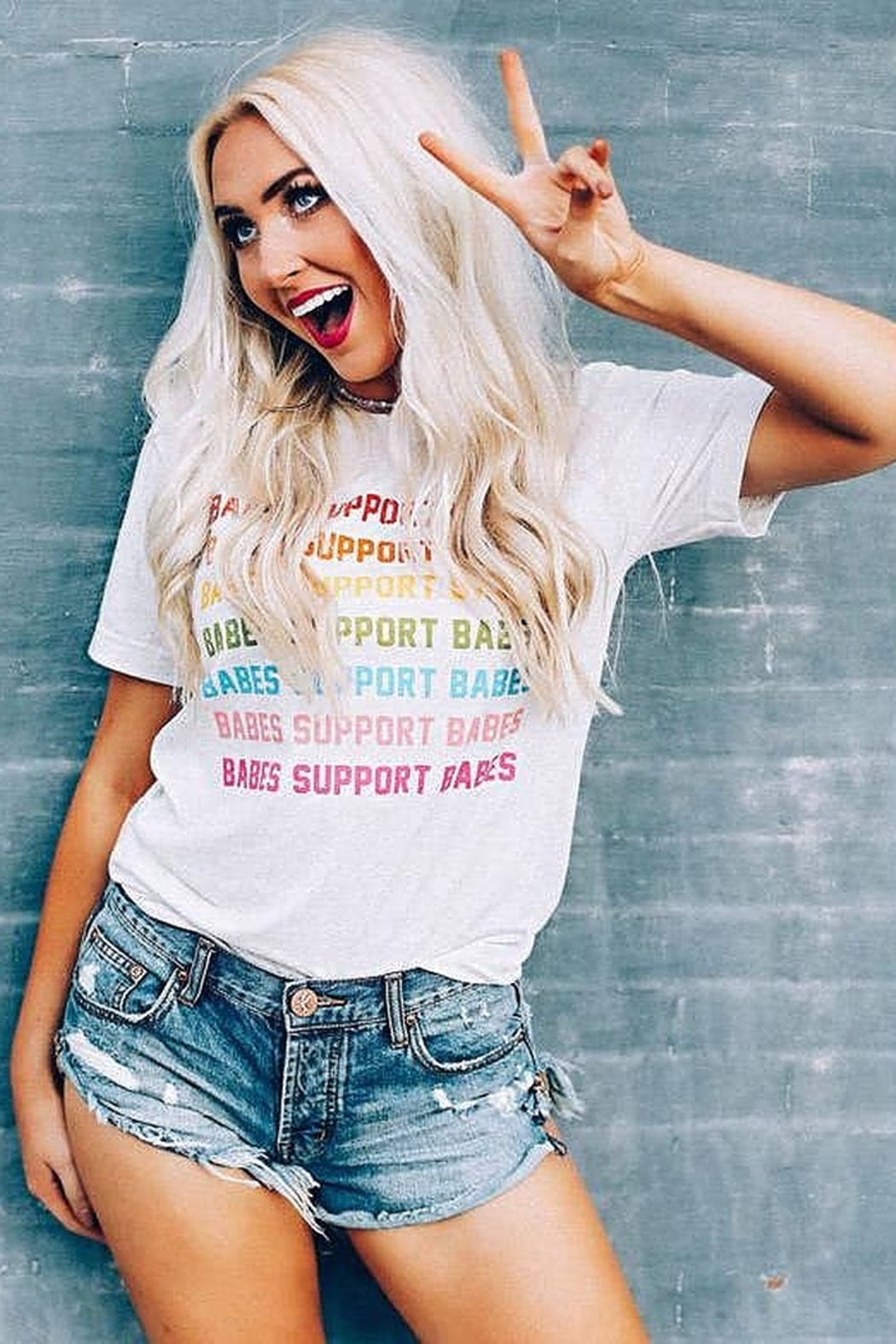 Friday + Saturday Babes Support Babes Tee - Main Image