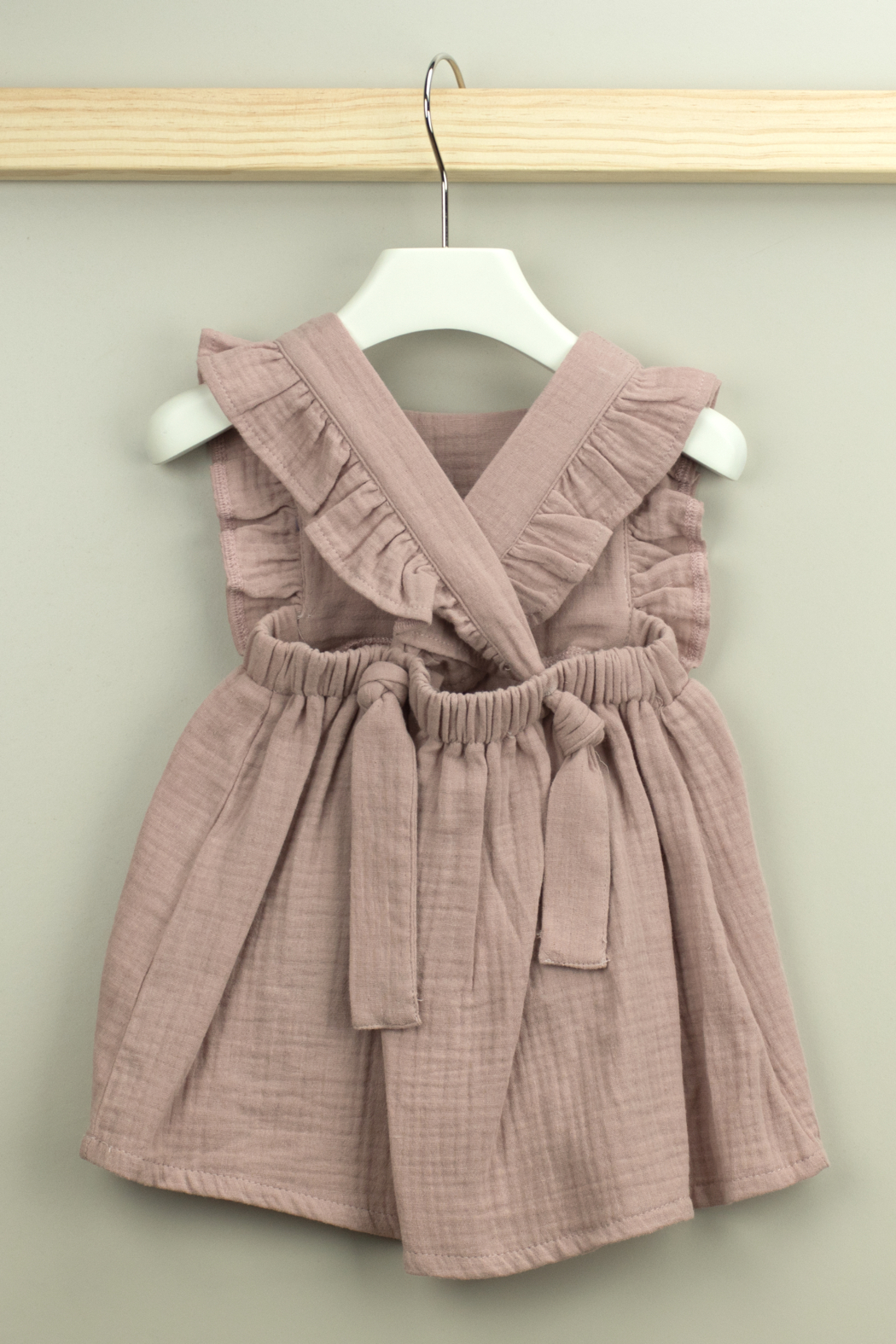 Babidu Alma Collection Cotton Dress with Ruffle For Baby Girls - Front Full Image