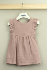 Babidu Alma Collection Cotton Dress with Ruffle For Baby Girls - Front cropped