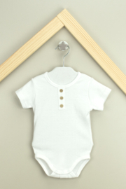 Babidu Boy's Cotton Short Sleeved Bodysuit With Placket - Front cropped