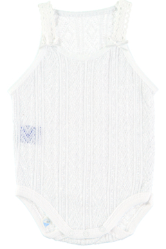 Babidu Soft Cotton Baby Girl Bodysuit with fine straps in Perlé Fabric & bow detail on the front of the straps. - Product List Image