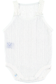 Babidu Soft Cotton Baby Girl Bodysuit with fine straps in Perlé Fabric & bow detail on the front of the straps. - Product Mini Image
