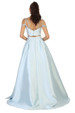 May Queen  Baby Blue Two Piece Cold Shoulder Long Formal Dress - Alternate List Image