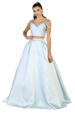 May Queen  Baby Blue Two Piece Cold Shoulder Long Formal Dress - Product List Image