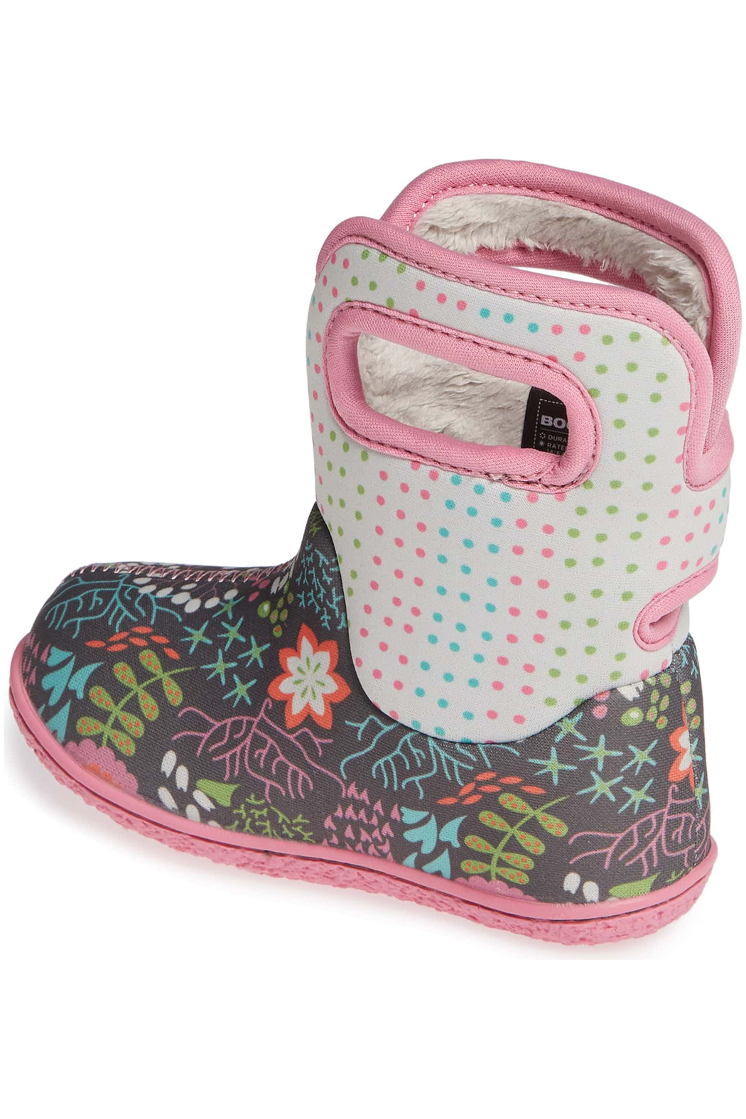 BOGS Baby Bogs Gray Flower Dot Waterproof Boot - Back Cropped Image