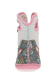 BOGS Baby Bogs Gray Flower Dot Waterproof Boot - Side cropped