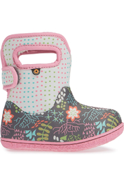 BOGS Baby Bogs Gray Flower Dot Waterproof Boot - Front cropped