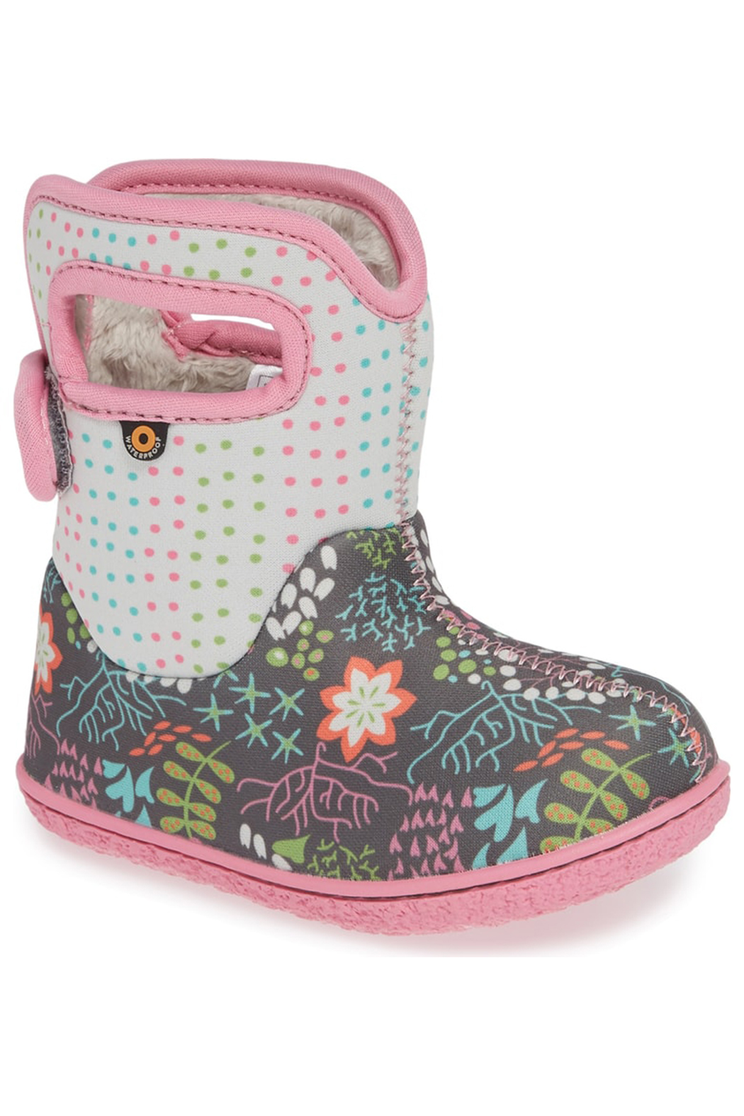BOGS Baby Bogs Gray Flower Dot Waterproof Boot - Front Full Image