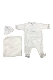 Petit Bateau  Baby Boy 3 Peice Gift Set ( Dots Footie,Blanket & Beanie)Best For Baby Shower Gifting - Product Mini Image