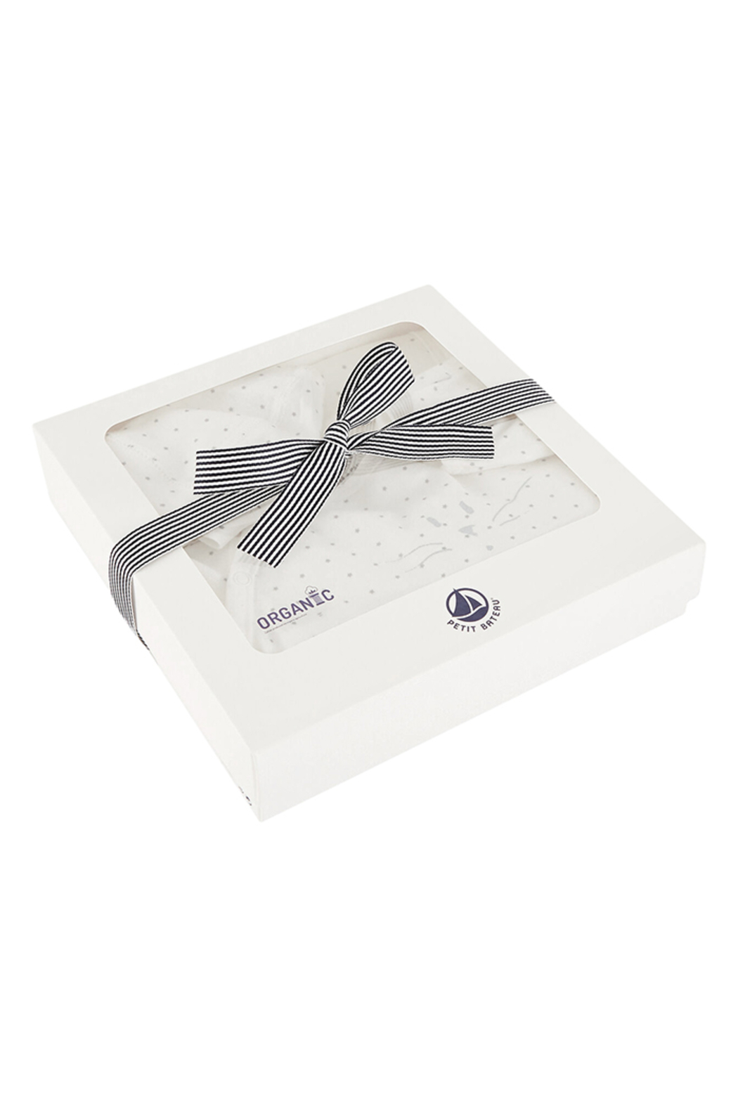 Petit Bateau  Baby Boy 3 Peice Gift Set ( Dots Footie,Blanket & Beanie)Best For Baby Shower Gifting - Back Cropped Image