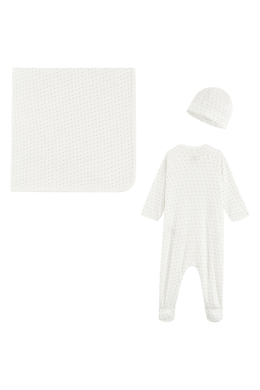 Petit Bateau  Baby Boy 3 Peice Gift Set ( Dots Footie,Blanket & Beanie)Best For Baby Shower Gifting - Front Full Image