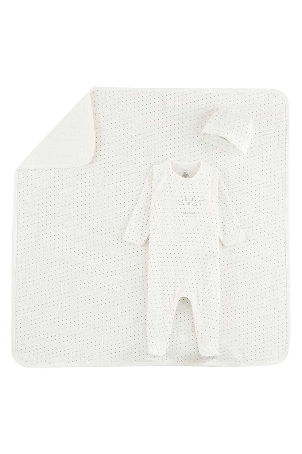 Petit Bateau  Baby Boy 3 Peice Gift Set ( Dots Footie,Blanket & Beanie)Best For Baby Shower Gifting - Main Image