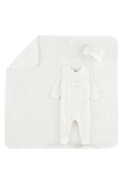 Shoptiques Product: Petit Bateau Baby Boy 3 Peice Gift Set ( Dots Footie,Blanket & Beanie)Best For Baby Shower Gifting