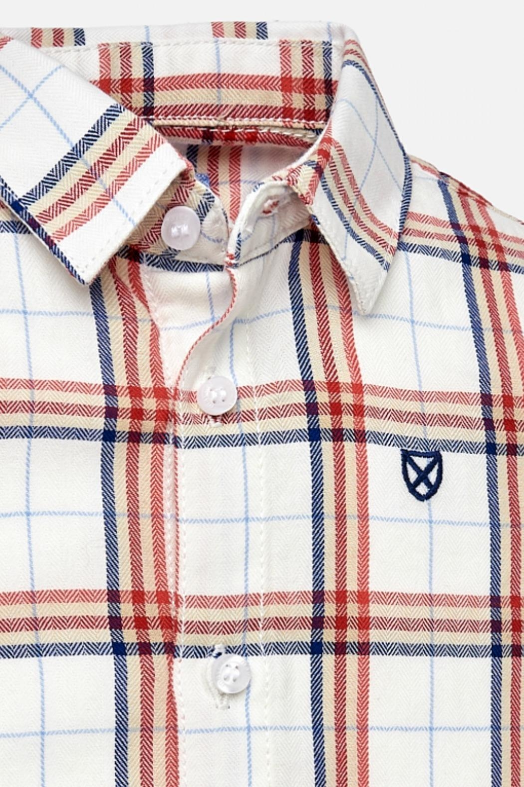 Mayoral Baby-Boy Candy-Apple-And-Navy-Stripe Shirt - Front Full Image