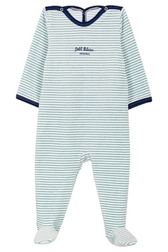 Shoptiques Product: Petit Bateau Baby Boy Velour Back Snap Stripped Footie | Suitable for Baby Gifting