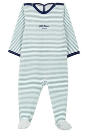 Petit Bateau  Baby Boy Velour Back Snap Stripped Footie | Suitable for Baby Gifting - Product Mini Image