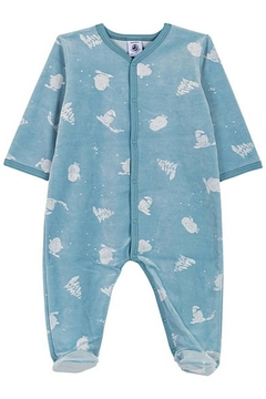 Shoptiques Product: Petit Bateau Baby Boy Velour Front Snap Yeti Print Footie | Suitable for Baby Gifting