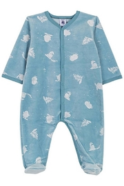 Petit Bateau  Baby Boy Velour Front Snap Yeti Print Footie | Suitable for Baby Gifting - Product Mini Image