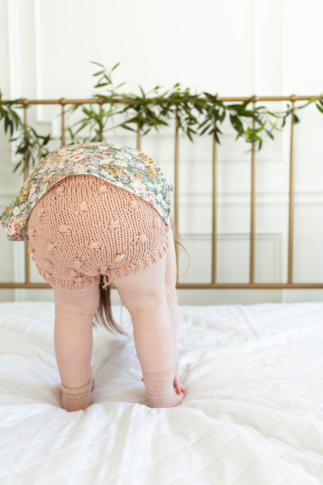The Blueberry Hill BABY COTTON KNIT POPCORN BLOOMERS - Side Cropped Image