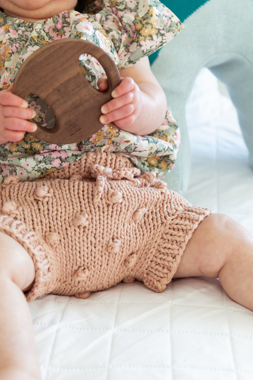 The Blueberry Hill BABY COTTON KNIT POPCORN BLOOMERS - Main Image