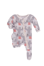 Kickee Pants Baby Elephant Ruffle-Footie - Front cropped