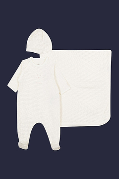 Shoptiques Product: BABY GIRL 3PC SET DOTS FOOTIE BLANKET AND HAT