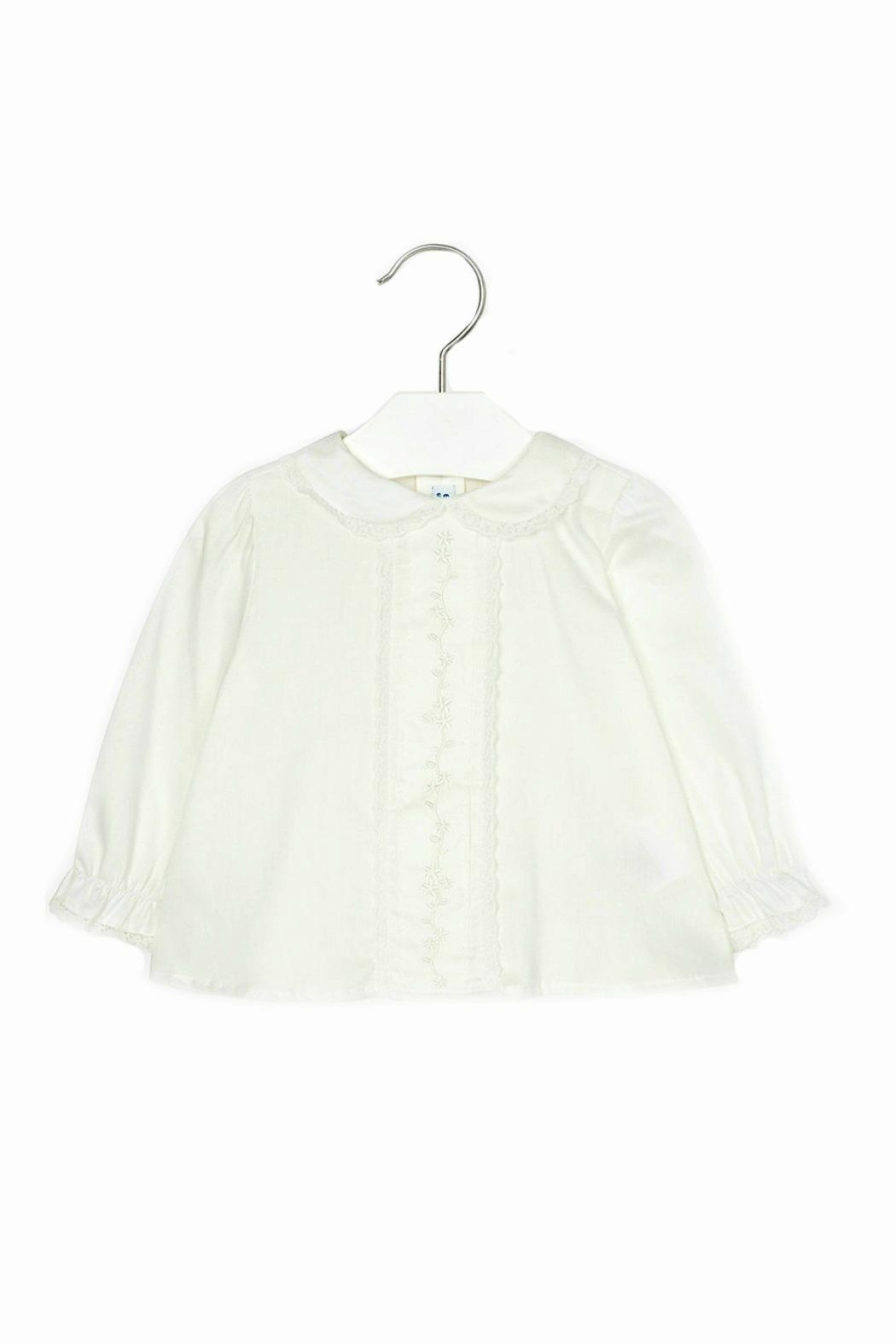 Mayoral Baby-Girl Embroidered-Long-Sleeve-Off-White Blouse - Front Cropped Image