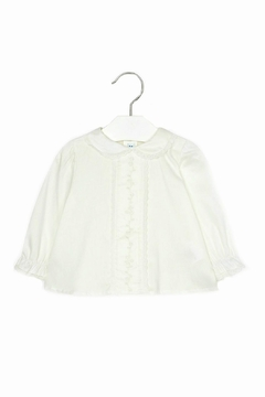 Shoptiques Product: Baby-Girl Embroidered-Long-Sleeve-Off-White Blouse