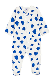 Petit Bateau BABY GIRL FRONT SNAP HEART PRINT FOOTIE - Product Mini Image