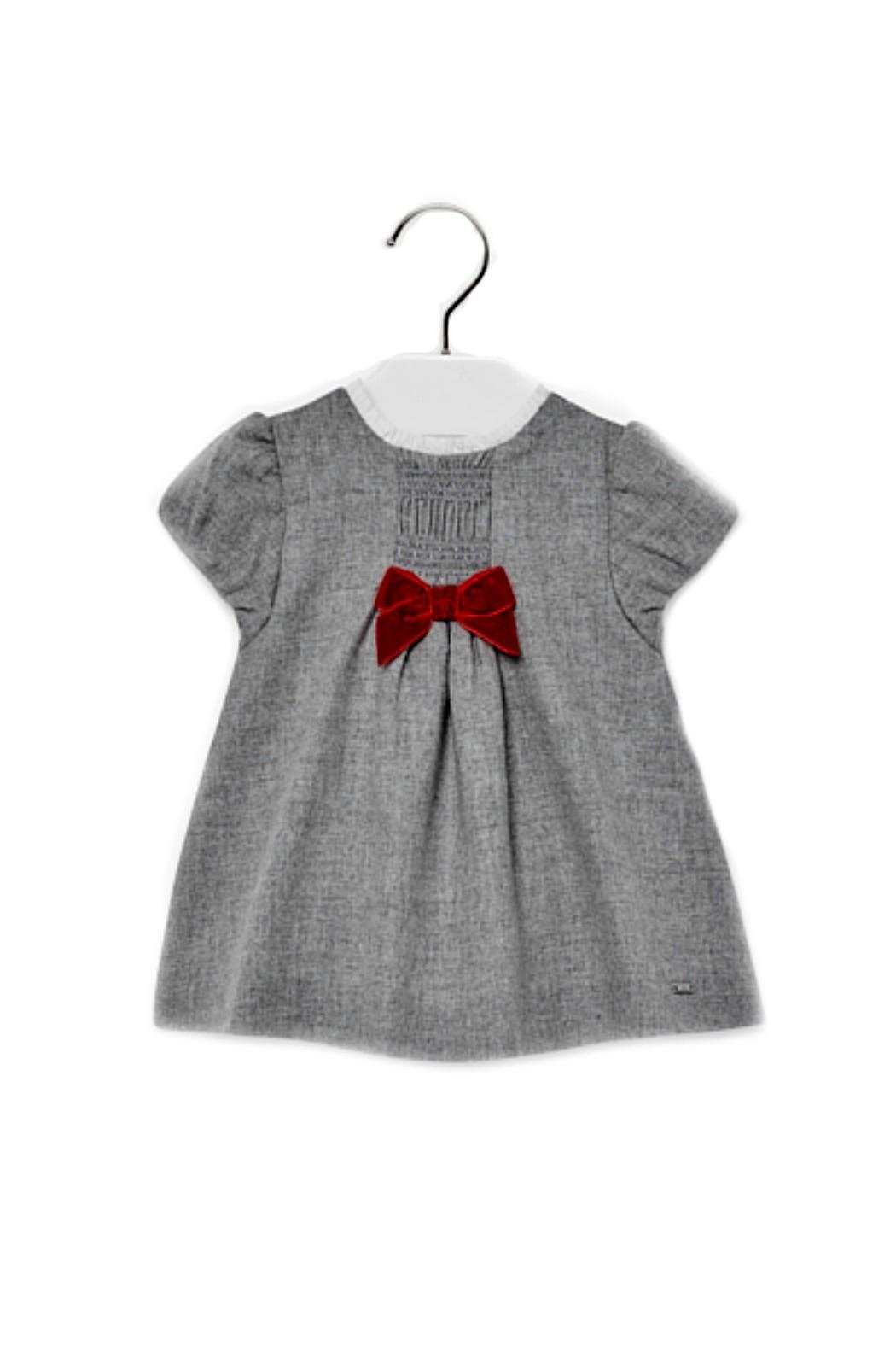 Mayoral Baby-Girl Grey-Flannel Dress - Front Cropped Image