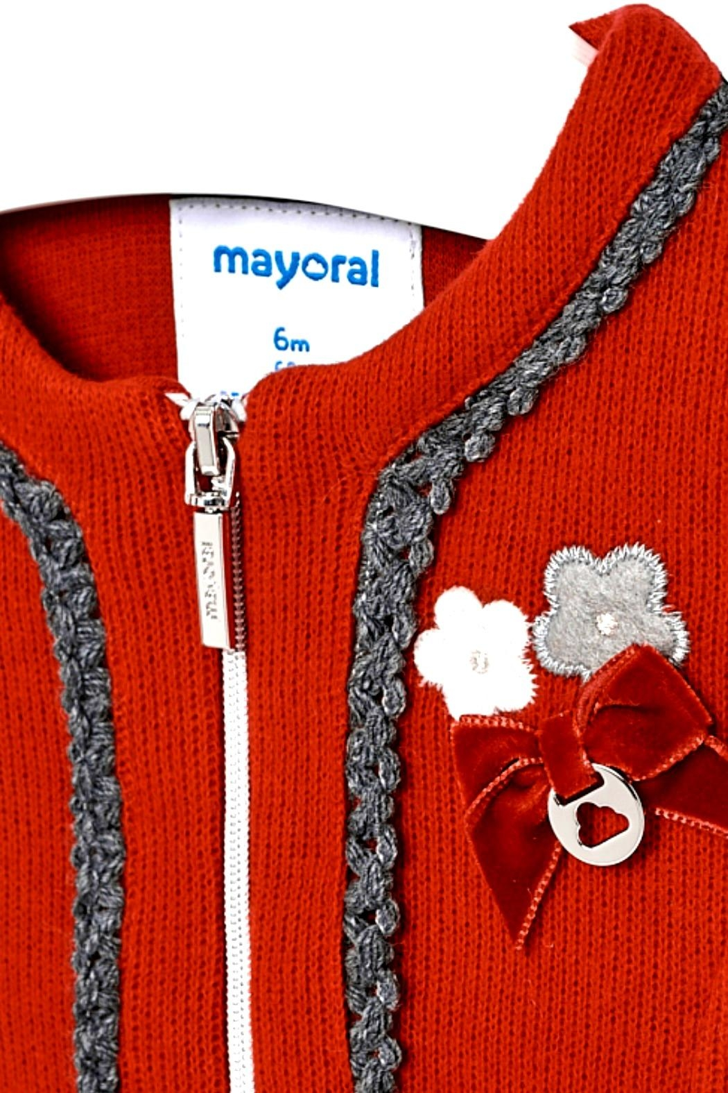 Mayoral Baby-Girl-Red-Zip-Up-Cardigan-Jacket - Side Cropped Image