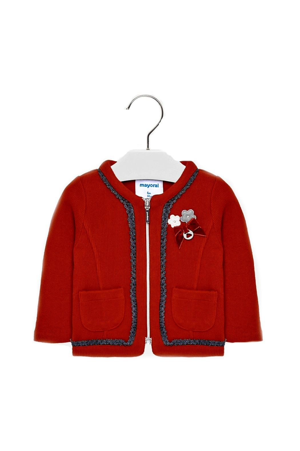 Mayoral Baby-Girl-Red-Zip-Up-Cardigan-Jacket - Main Image