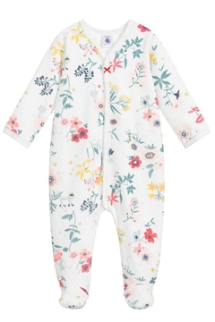 Shoptiques Product: Baby Girl Velour Front Snap Floral Footie | Best For Baby Gifting