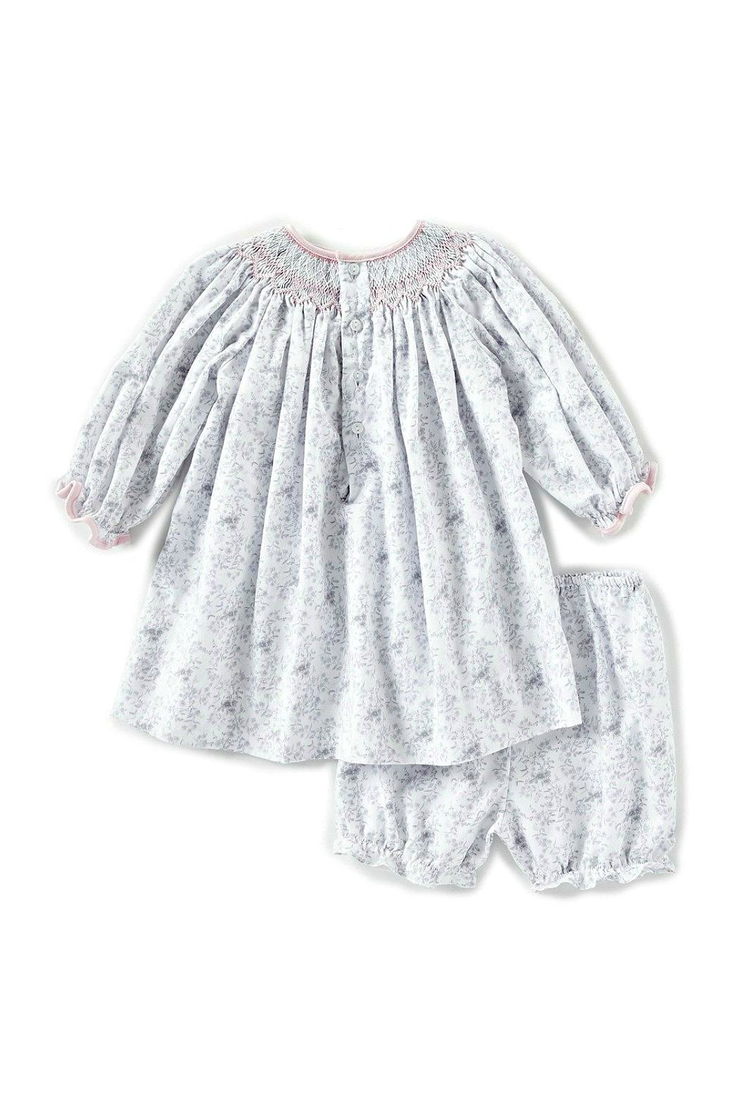 Petit Ami Baby-Girl-Vintage-Rose-Dress-In-Grey-With-Bloomers - Front Full Image