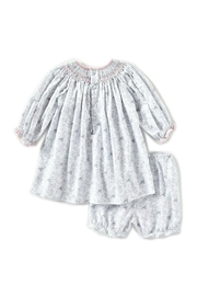 Petit Ami Baby-Girl-Vintage-Rose-Dress-In-Grey-With-Bloomers - Front full body