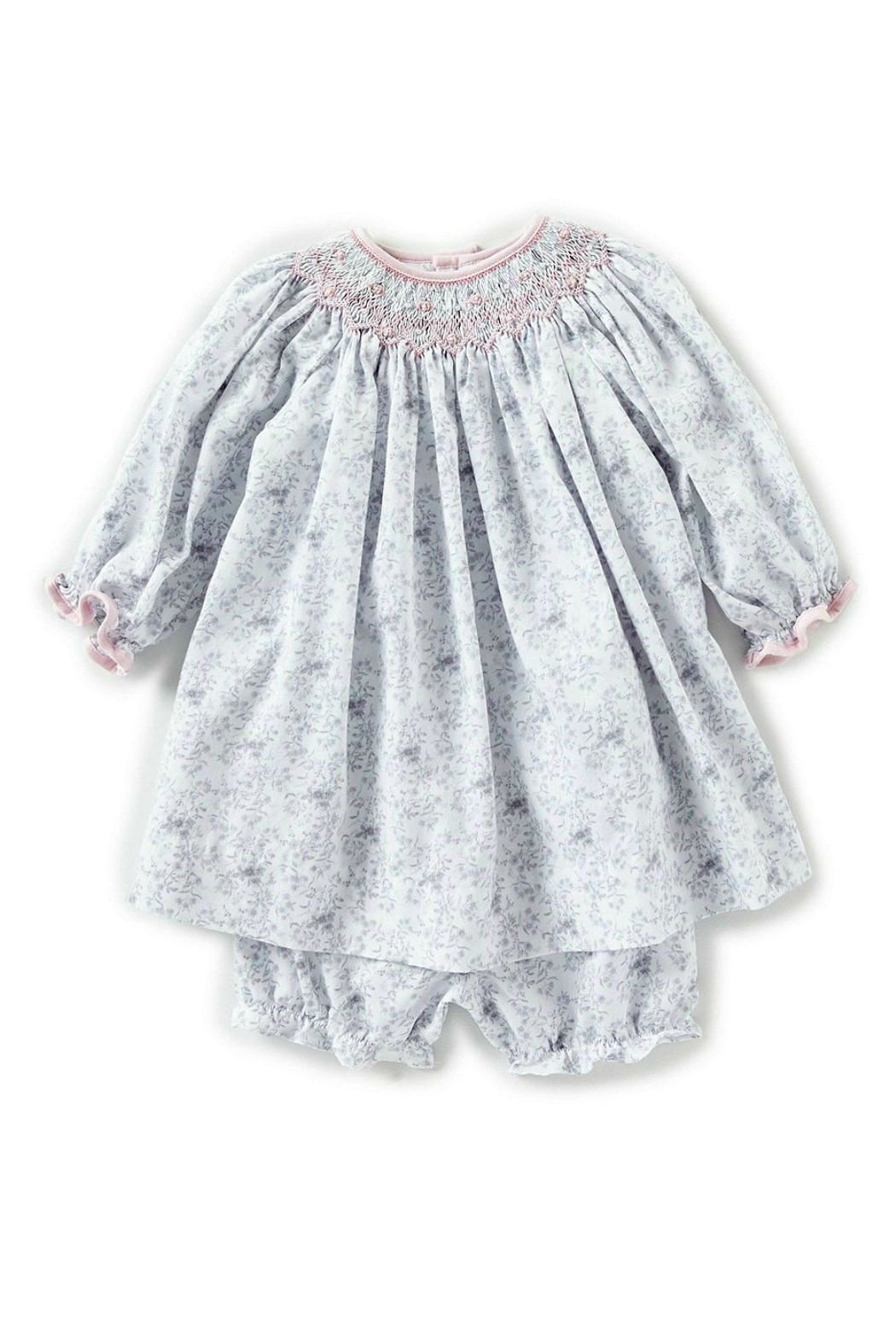 Petit Ami Baby-Girl-Vintage-Rose-Dress-In-Grey-With-Bloomers - Main Image